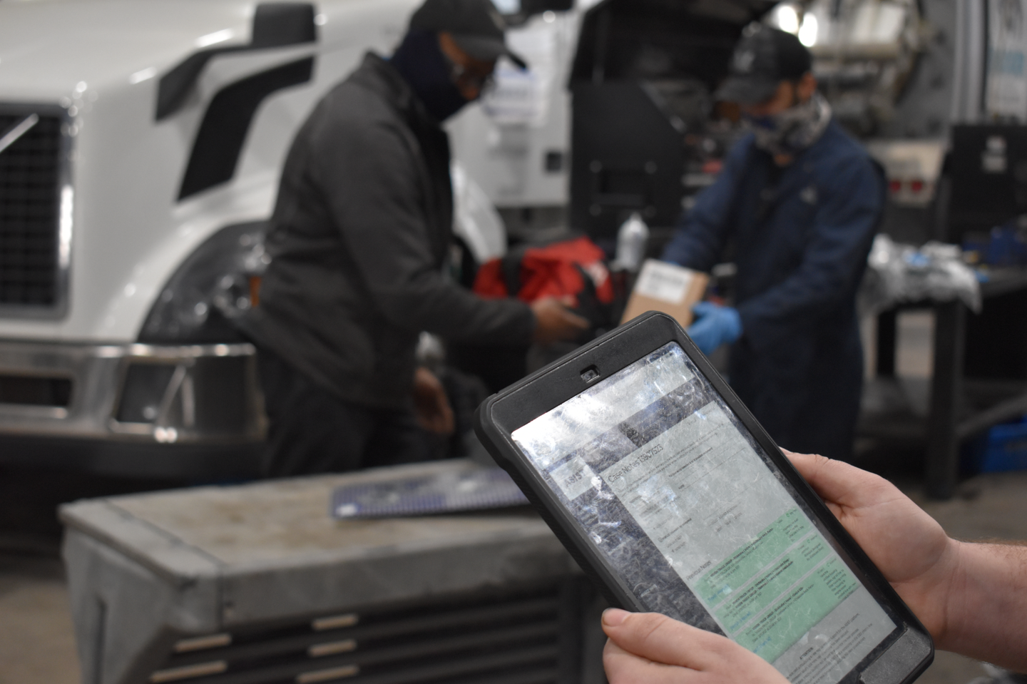 Technicians can order parts on the iPad, enter notes and photos, and communicate with other technicians who may have worked on the same vehicle.